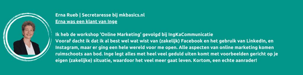 Workshop online marketing en communicatie, IngKaCommunicatie